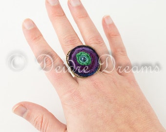 Large Spiral Felt Ring, Boho Tribal Ring, Filigree Ring, Adjustable Ring, Large Statement Ring, Eco Friendly Hippie Jewelry, Eco Fashion