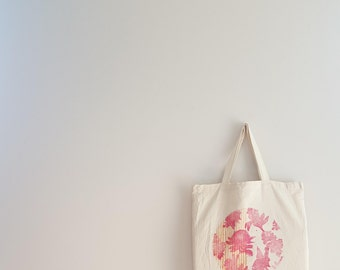 Lux Lucis Native flowers Tote - Hand printed / stamped - Blue, Gift - Banksia, Wattle, Desert Pea, Warratah