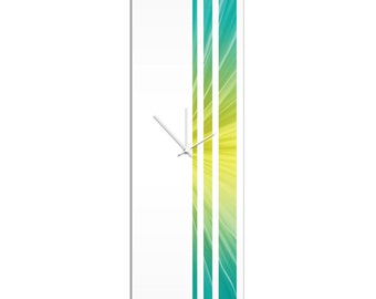 Large Modern Clock 'Lagoon Triple Stripe Clock' by Adam Schwoeppe - Wall Decor Minimalist Accent Piece on Acrylic