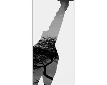 Giraffe Savanna   Contemporary Metal Animal Silhouette Art, Wildlife Artwork on White, Minimalist African Landscape, Modern Wall Decor