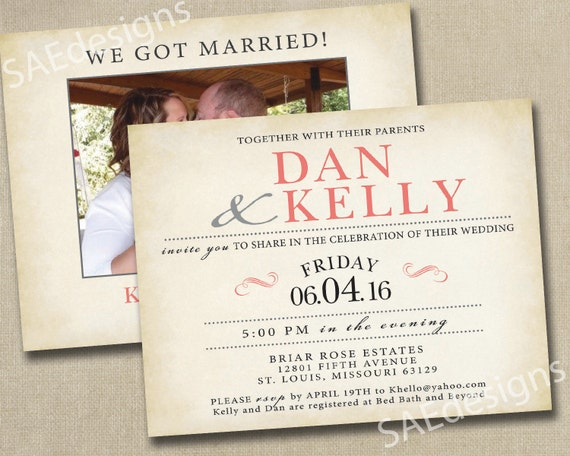 Elopement Wedding Invitations: Wedding Reception Elopement Invites Invitations By