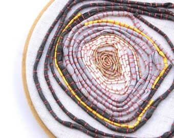 TAUPE FOR the BEST, Embroidery Hoop Art Piece Made Of Couched Raffia Ties In Shades Of Taupe, Yellow, Khaki, Cream, Gray