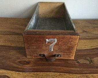 Vintage Wood and Metal Drawer Industrial Storage Bin 7
