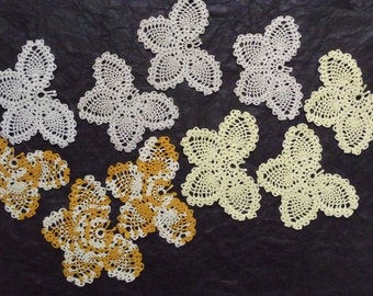 Crochet Lace Butterfly Doily Ten Machine Crocheted Butterflies