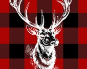 Buffalo Check Reindeer Print - Red & Black - Digital Download
