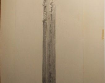 Vintage pencil drawing titled pillar of education 1970