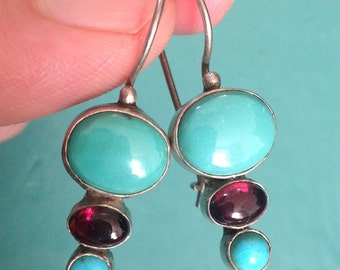 Triple Turquoise with Amethyst Stone & Sterling Designer Earrings