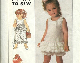 Simplicity 9220 Toddler's Sundress, Top, Panties and Cropped Pants Pattern, Size 1/2-1-2-3 UNCUT