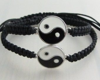 Black Yin Yang Bracelets, Boyfriend Girlfriend Bracelets, Matching Couples Bracelet, Set of 2 Adjustable Zen Charm Macrame Bracelet