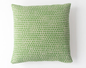 Dot Block Print Pillow in Spring Green