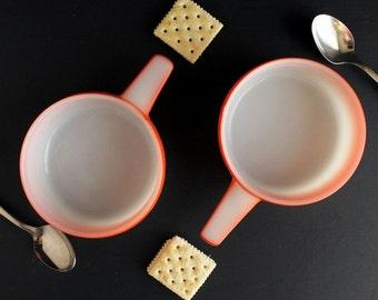 Vintage Ovenware Soup Crock White and Orange Jeanette Glasbake Ovenware 14oz Set of 2