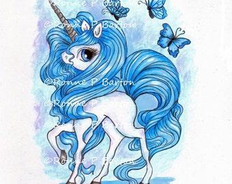 Silverhoof big eyed fantasy unicorn colored pencil original painting Prismacolor