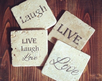 Live, Laugh, Love Tumbled Marble Coasters