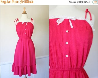 50% OFF DOWNSIZING SALE Vintage 1960's 60s 1970's does 1950's Coral Pink Sleeveless Summer Dress Xs Extra Small