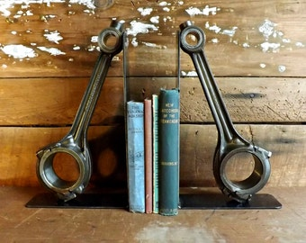 Connecting rod bookends Piston bookends Industrial bookends Steampunk bookends Oversize bookends Library table Office decor Book shelf end