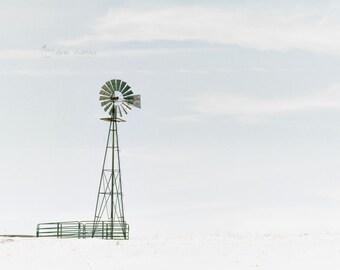 Windmill Art, Landscape Photography, Rustic Farmhouse Decor, Large Wall Art, Light Blue | 'Windchill'