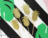 Pineapple Glitter Cupcake Toppers/pineapple party/tropical summer party/ hawaiian wedding decoration/ aloha beaches/ tiki party