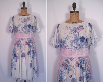 1970s sheer mixed print dress • 70s white flower print dress • vintage sentimental tango dress