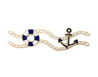 ID 2656 Life Preserver & Anchor Nautical Rope Patch Boating Iron-On Applique