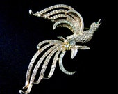 Vintage Huge Bird Rhinestone Brooch Boucher Style Clear and Topaz Rhinestone Bird of Paradise Gold Tone Big Figural Brooch