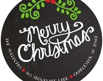 Round Christmas Stickers Labels