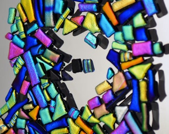 Bits & Pieces, Mosaic Dichroic Tiles, Rainbow Colors, Itsy Bitsy Tiles, Electric Bright Colors