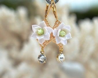 White Magnolia and Swarovski Crystal Earrings. Magnolia Statement Earrings.