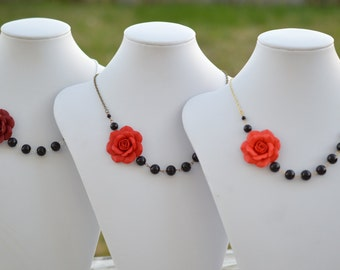 FREE EARRINGS. Red Rose and Black Beads Asymmetrical Necklace
