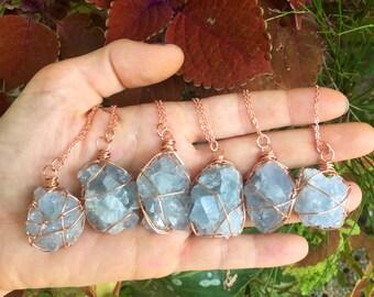 CELESTITE - simple copper wrapped necklace