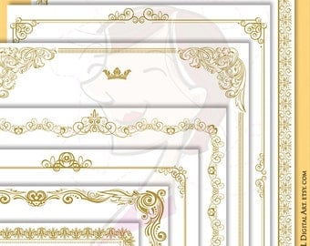 gold certificate page frames 8x11 retro french design wedding border awards diplomas documents antique gold vector file commercial use 10083
