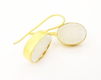 Super Sparkly White Druzy Earrings Bezel set in  Matt Gold, Statement Druzy Summer Fashion Earrings, Everday Jewelry,