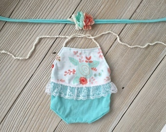 Aqua, Coral, and White Lace Backless Romper Jersey Knit Newborn SET with Floral Stretch Tieback Headband - Ready to Ship