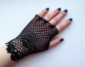 CUSTOM ORDER for Catherine.  Crochet fingerless irish lace gloves