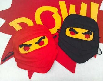 Lego inspired ninja mask/toy/dress up/costume for children, superhero, role play