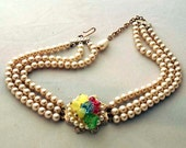 Vintage Pearl Three Strand Choker Italian glass colored leaf center necklace costume jewelry