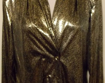 NOTATIONS Long Sleeve Blouse Black & Golden