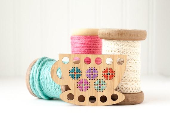 Teacup embroidery floss organizer diy kit thread minder