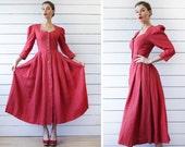 Vintage red pure linen puffed sleeve full skirt folk dirndl maxi dress XS S