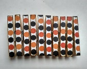 Orange and Black Halloween Polka Dot Themed Decoupage Clothespins Set of 10
