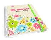 personalized teacher lesson planner with matching notebook - houndstooth pattern and flowers pink blue yellow lime green - AGK77 PROMO