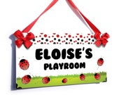red ladybugs cubby house kids name door sign - P2058