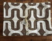 Farmhouse Placemats- Coffee Bag Burlap- Royal Coffee-Brown Geometric Pattern-Set of 4