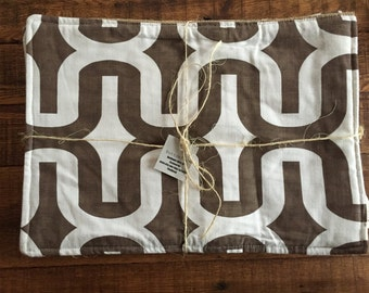 Farmhouse Placemats- Coffee Bag Burlap- Royal Coffee-Brown Geometric Pattern-Set of 4
