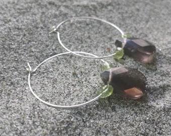 Smoky Quartz Sterling Silver hoop earrings