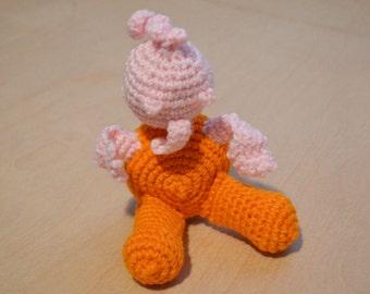 Baby Alien, Baby Creature, Crochet Amigurumi, Orange and Pink