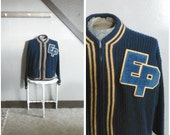 Game Day 1950s Men's Navy Blue and Yellow Knit Zip Up Letterman Sweater