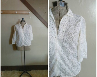 A Bit of Sparkle 1950s Sheer White Lace Blouse with Rhinestone Detail
