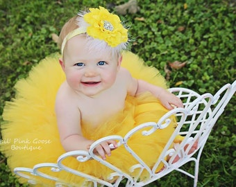 YELLOW TUTU with Sparkle Headband, Newborn Tutu, Baby Tutu, Infant Tutu, Newborn Photography Prop, Photo Prop, Tutus for Children, Birthday