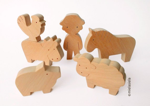 Barnyard farm animals - Farm Animal Set - Waldorf wooden toys - Handmade wooden toy
