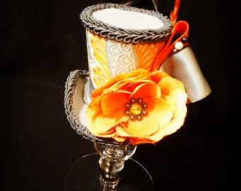 Orange and Grey mini top hat fascinater costume accessorie